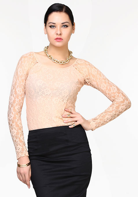Lace Luxe Top - Nude