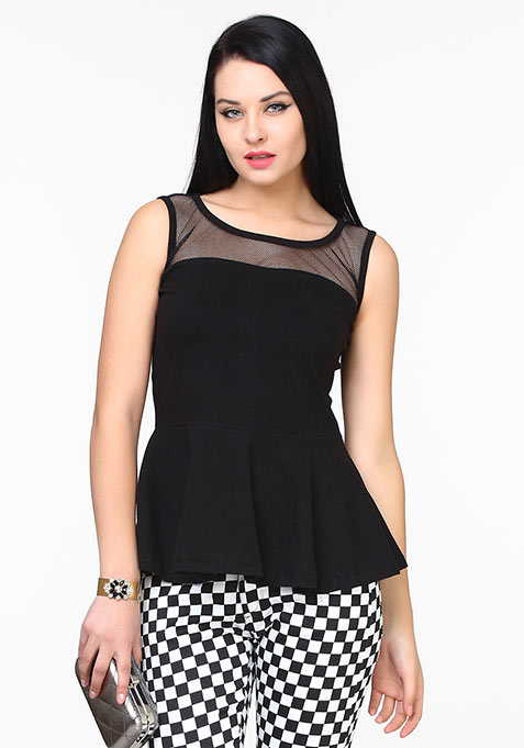 Black Dash Peplum Top