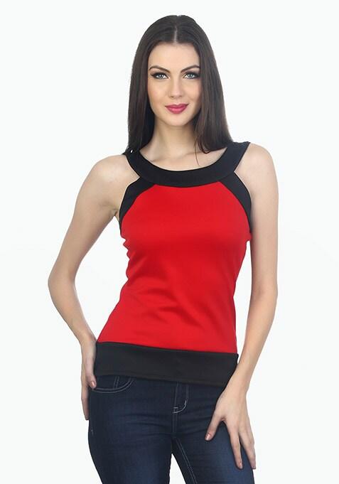 Colour Block Scuba Top - Red