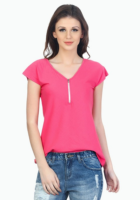 Zip Me Up Boyfriend Tee - Pink