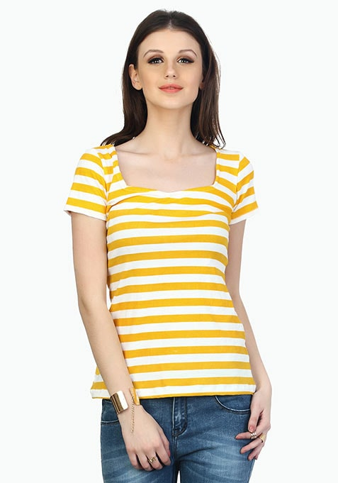 Stripes Ahead Yellow Tee