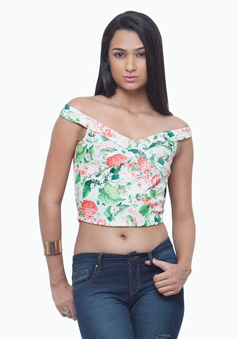 Bardot Crop Top - Light Floral