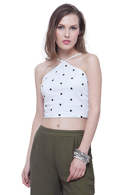 Halter Crop Top - White Polka