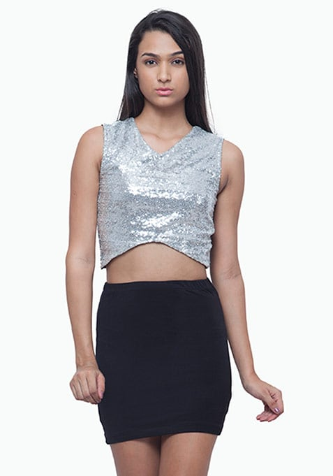 Crossways Sequin Crop Top - Silver