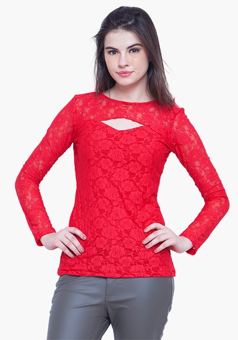 Goth Lace Cut Out Top - Red
