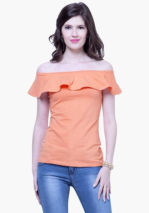 Off-Shoulder Ruffled Top - Peach