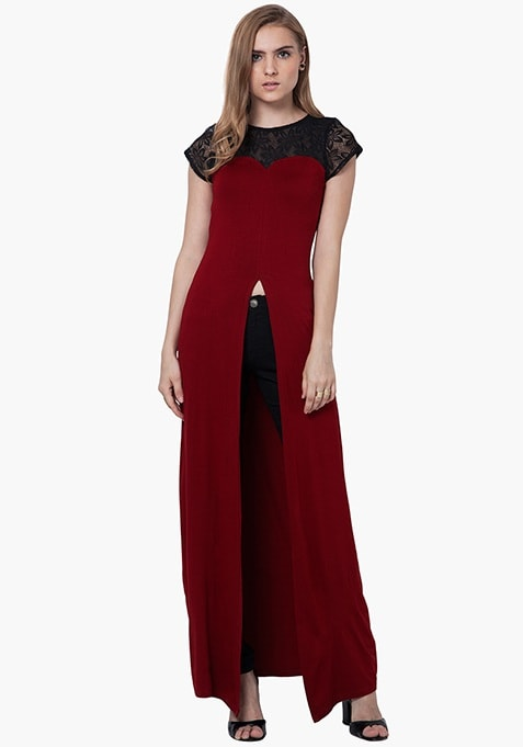 Lace Sass Maxi Top - Oxblood
