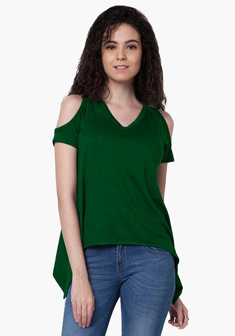 Cold Shoulder Handkerchief Top - Green