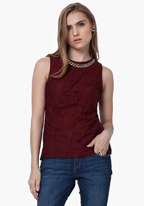 Gold Link Lace Top - Oxblood