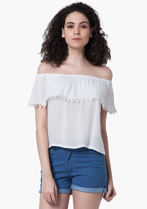 Off Shoulder Peasant Top - White