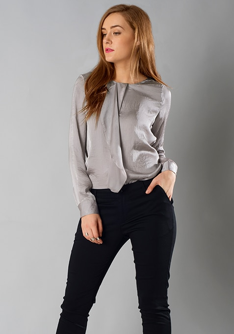 Ruffled Satin Blouse - Grey