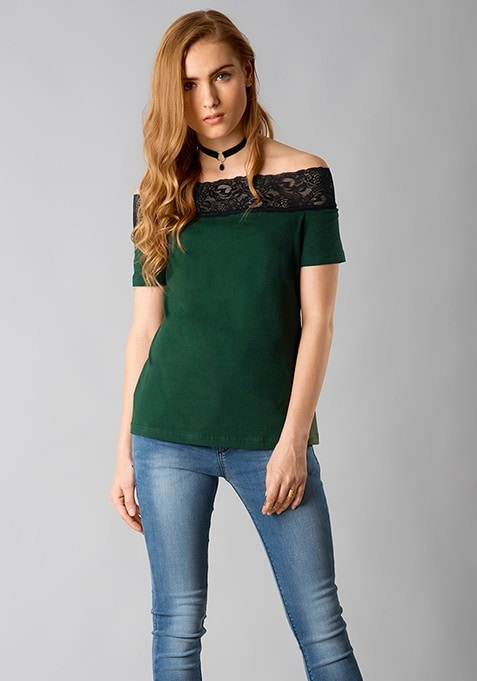 Off Shoulder Lace Tee - Green