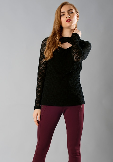 Cut Away Lace Top - Black