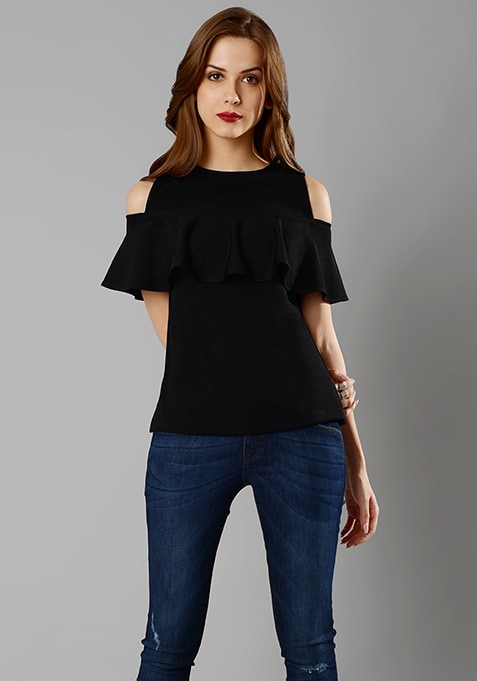 Ruffled Cold Shoulder Top - Black