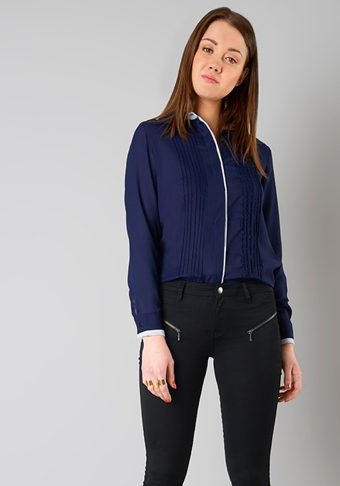 Pintuck Shirt - Navy