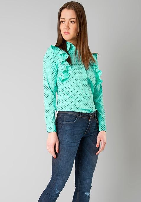 Ruffled Sides Shirt - Mint Polka