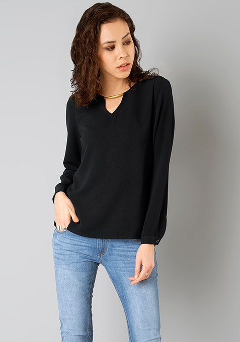 Metal Bar Blouse- Black