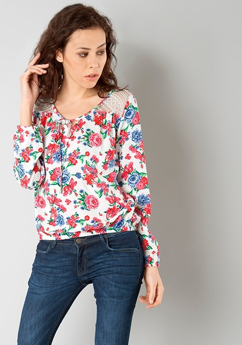 Lace Insert Blouse - White Floral