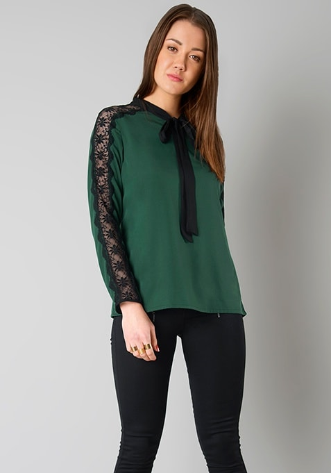 Lace Insert Pussy Bow Blouse - Green