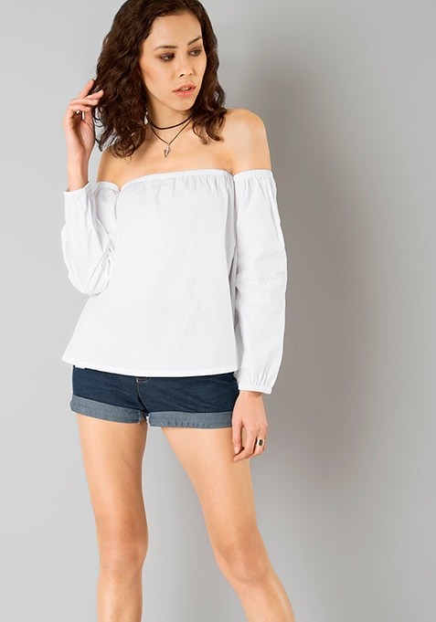 White Out Bardot Top