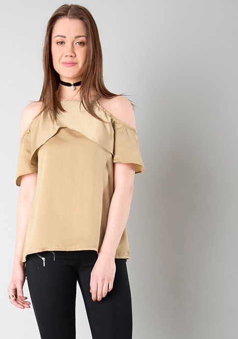 Satin Cold Shoulder Top - Beige