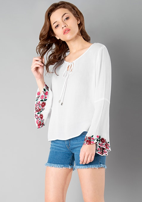 Embroidered Bell Sleeve Boho Top - White