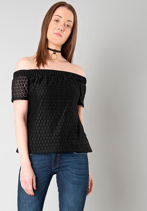 f1b518d298c116 Buy Women Bardot Bish Top - Black Lace - Sale Tops Online India ...