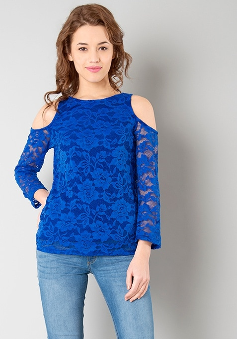 Cold Shoulder Lace Top - Blue