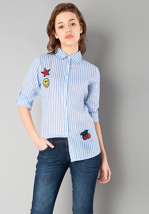 Blue Striped Badge Shirt