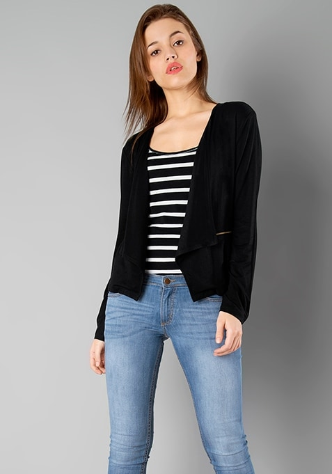 Cascading Lapel Shrug - Black