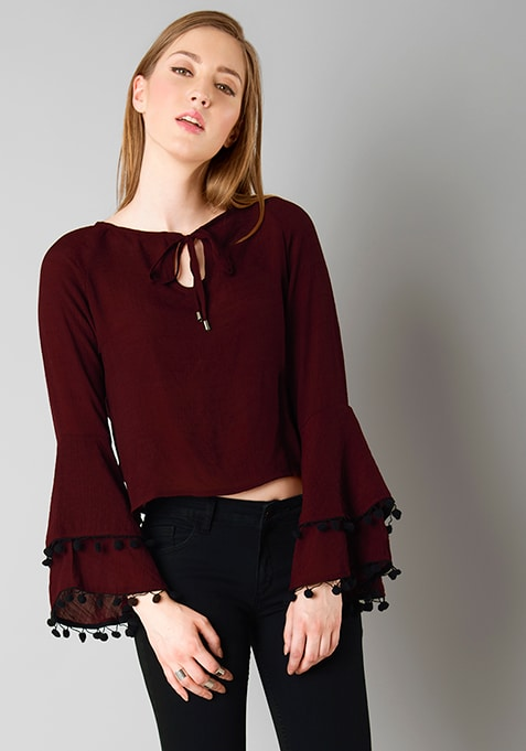 Pom Pom Bell Sleeve Crop Top - Wine