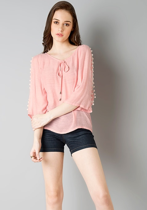 Pom Pom Slit Sleeve Top - Pink