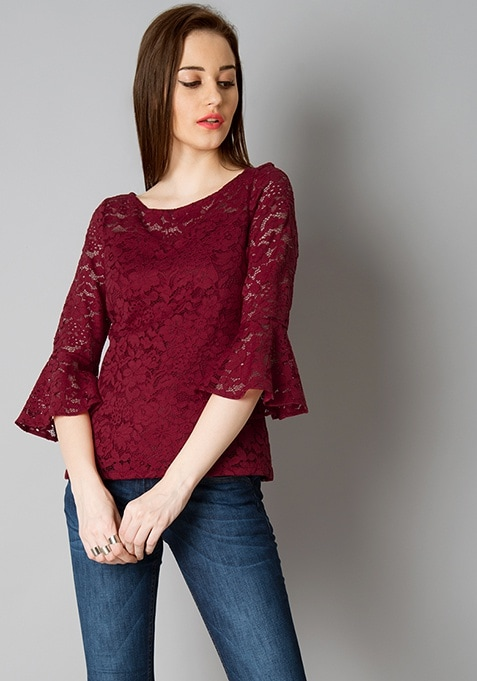 Bell Sleeve Lace Top - Oxblood