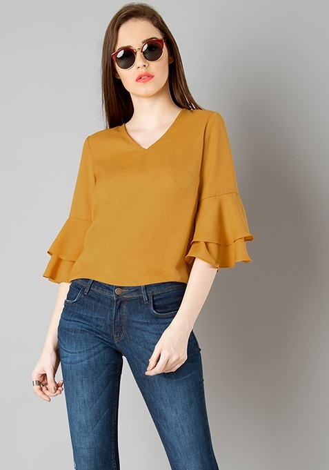 Double Layer Bell Sleeve Top - Mustard