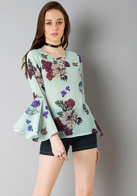 Lace Up Bell Sleeves Top - Mint Floral