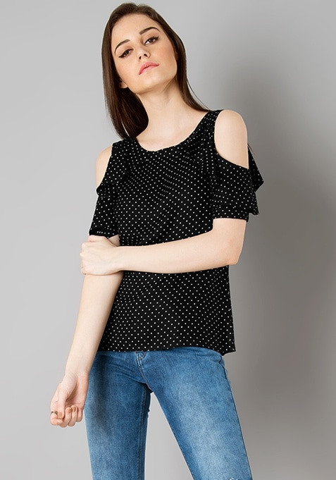Frilled Cold Shoulder Top - Black Polka