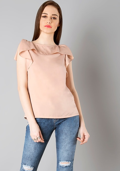 Ruffled Shoulder Top - Blush