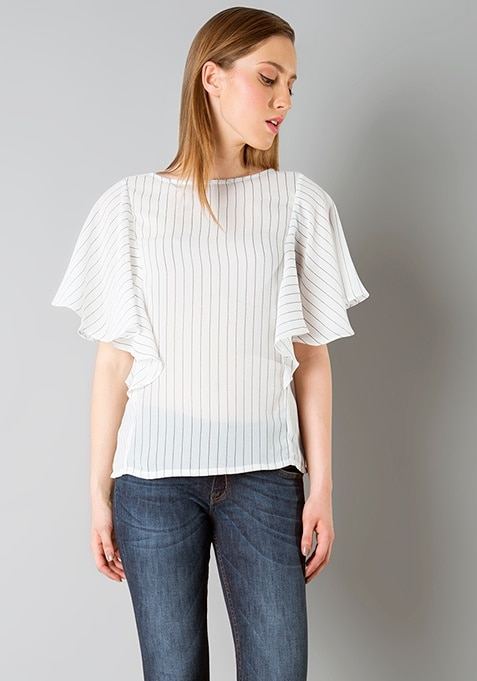 Ruffled Front Top - Stripes