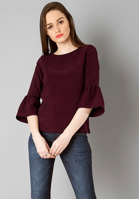 Bell Sleeve Classic Top - Wine