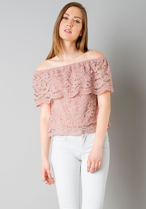 Off Shoulder Ruffled Lace Top - Pink