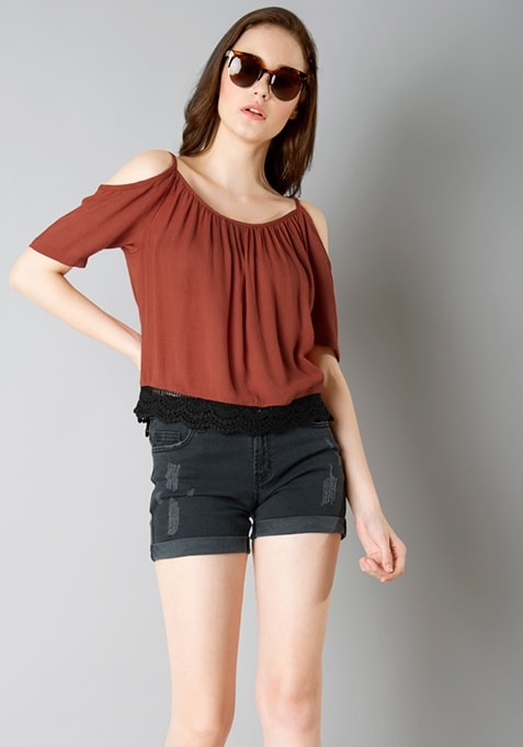 Cold Shoulder Peasant Top - Rust