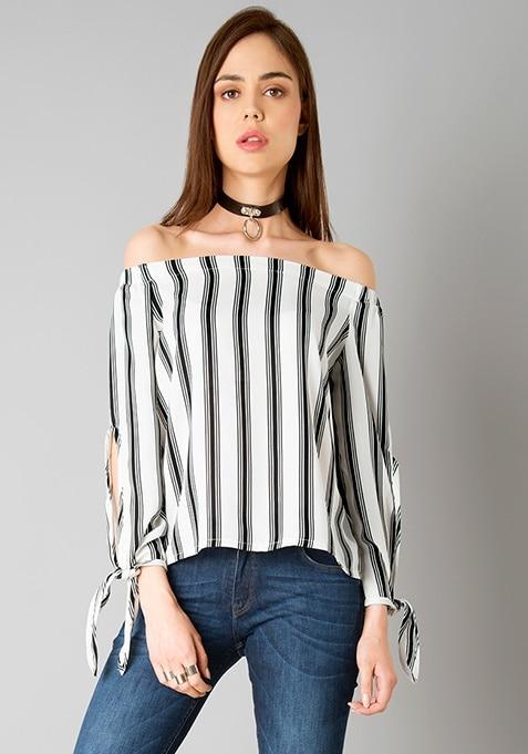 Off Shoulder Tie Sleeve Top - Stripes