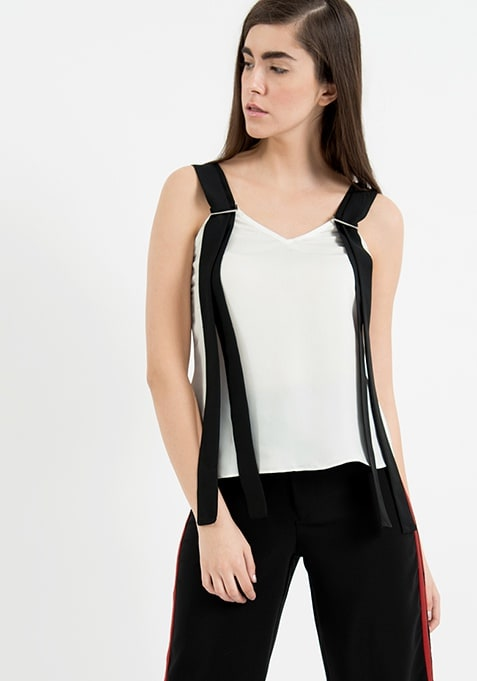 AlliaForFabAlley Suspender Top - White