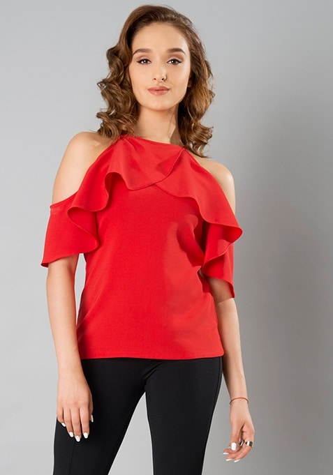 Ruffled Up Top - Red