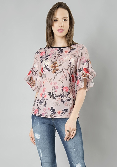 Flair Sleeve Top - Floral