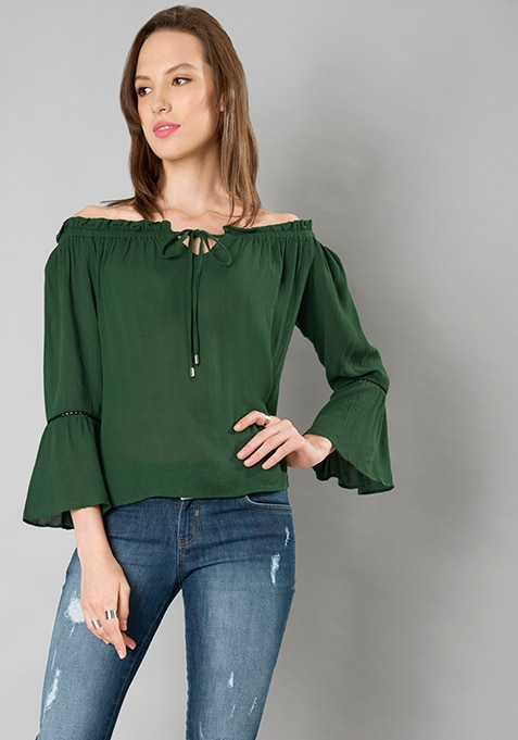 Bardot Bell Sleeve Top - Green