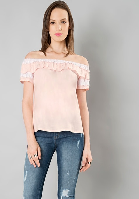 Eyelet Insert Ruffled Top - Blush
