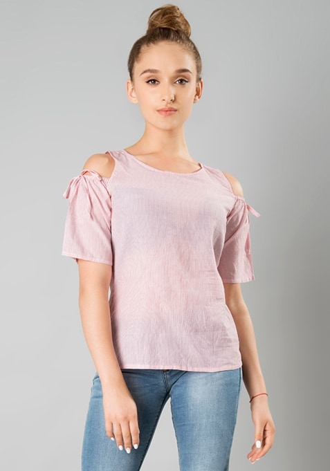 Cold Shoulder Top - Pink Stripes