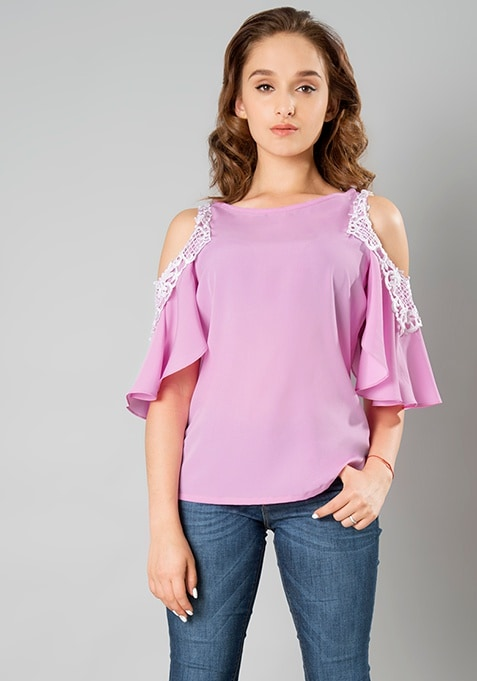 Laced Cold Shoulder Top - Lilac