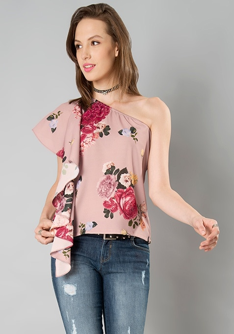 Cascade Ruffle Sleeve One Shoulder Top - Floral